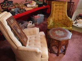 Two more Mid-century pieces of furniture  with a more recent mid-eastern occasional table