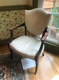 #2chairOdd Dining Chair w/wood arms white vinyl $75.00