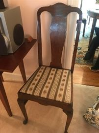 #5chairOdd Dining Chair fabric seat w/green stripe solid Wood Back $30.00