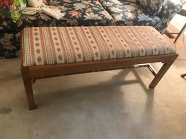 #7chairWood Bench w/Fabric Covered Top  46x16x19 $40.00