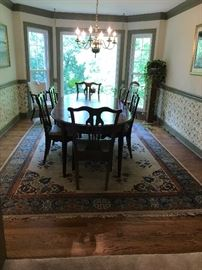 #1tablesdining room table 6 chairs with 3 leaves 57- 93x 42x28x29 $275.00