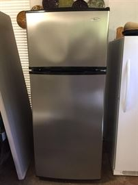 Stainless Steel upright Whirlpool refrigerator, excellent condition
