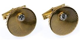 14k Gold and Diamond Cufflinks