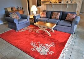 Handmade Chinese rug and living room furniture
