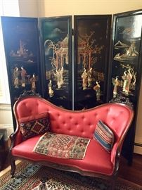 Vintage Asian screen and Victorian sofa