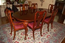 Bernhardt Mahogany Oval Dining Table & (6) Chairs