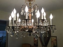 Chandelier, shown with lights on, large and lovely