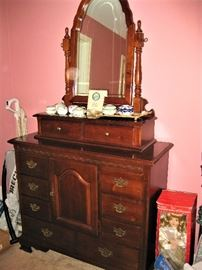 Stanley Cherry Finish Dresser with Mirror