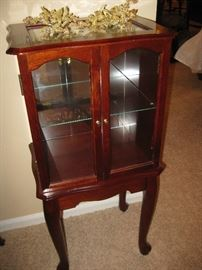 Petite Cherry Finish Curio Cabinet