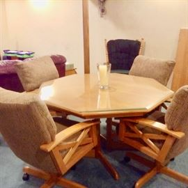 Honey Maple Game Table with Rocking Swivel chairs