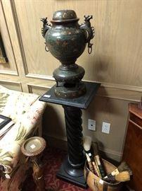 Chinese Bronze Cloisonné Sensor   Item # Antique Black Twist Pedestal Item # Calligraphy Brushes Item # African Water Bucket Item#