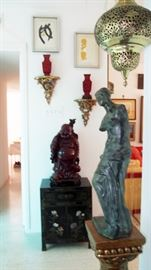 Great Buddha, pair Cinnabar Vases on gilt stands and woodblock prints