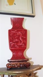 one of a pair of Cinnabar vases