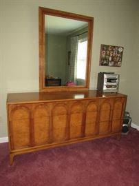 Beautiful mid-century modern dresser with mirror and 2 side cabinets.