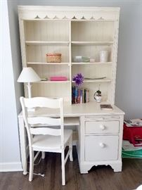 Matching distressed white computer desk with hutch, and chair
