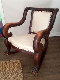 Antique rocker with claw feet