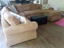 5 piece beige corduroy sectional with chase by Walter E. Smithe