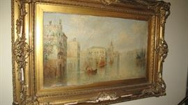 James Salt Venetian canal oil. Signed J. Salt.