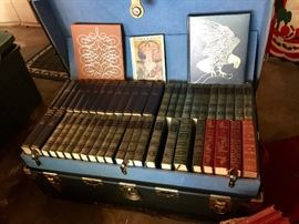 DECORATIVE COVERED BOOKS, PLUS BOXES FULL OF COFFEE TABLE BOOKS AND NOVELS