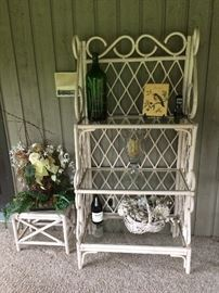 Rattan shelving unit/baker's rack and small table.