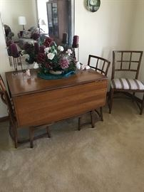 Midcentury modern drop leaf table and chairs
