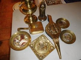A variety of vintage brass