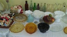 Depression glass, milk glass, vintage and antique bottles