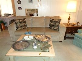 SOFA, COFFEE TABLE, SILVER PLATE