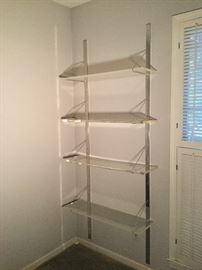 True Mid Century Modern Shelving Chrome with Lucite / Acrylic Shelves