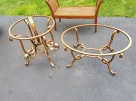 HEAVY IRON AND GLASS COFEE TABLE SET BY DOMAIN  300.00 PR