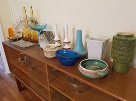MCM pottery & glass