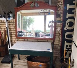 Marble Top Work Table - Modern Mirror - Copper Boiler w/ Lid - Scales - Huge Antique Sign