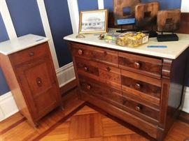 Antique Oak Marble Top, 1 Drawer & Door Small Cabinet - Antique Victorian Marble top Drawer Chest