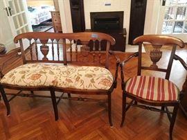 Antique Settee & Matching Chair