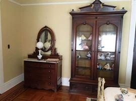 Antique Tall Display Glass Door Cabinet W/ 2 Drawers & Madame Alexander Dolls