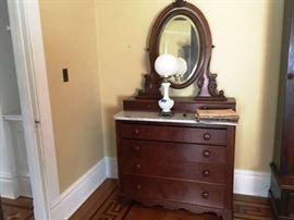 Antique Victorian 6 Drawer Marble Top Dresser w/ Oval Mirror