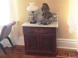 Antique Victorian Marble Top Washstand w/ Candle Shelves