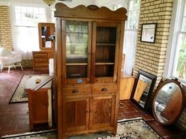 Antique Kitchen Cabinet with 2 Glass Doors, 2 Drawers and 2 Wooden Doors