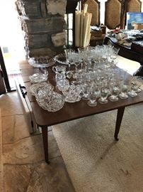 Etched crystal - gate leg table, loads of nautical Maps!