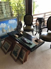 Redwood Railroad tie table - very 1970's would look great with with Don Shoemaker chairs or Aldo Tura. Soldwedel Painting.  (Iron Ship and victorian chairs are sold)