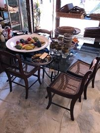 3 Cane bottom chairs (glassware sold)