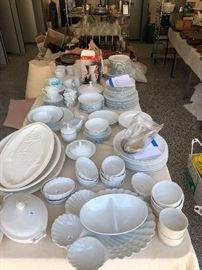 Noritake, Cordon Blu and Pier One white dishes