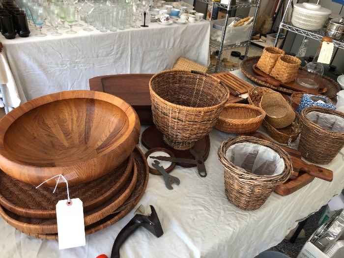 Teak and woven baskets