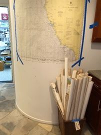 Old Nautical Navigational maps for the areas around San Diego, LA, Catalina, Mexico