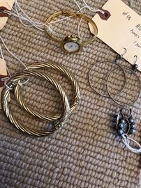 Gucci watch, pearl earrings, sterling silver dangle earrings! (silver bangles have sold)
