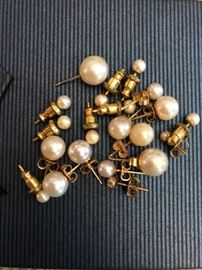 Pearl earrings!  Some real, some not!
