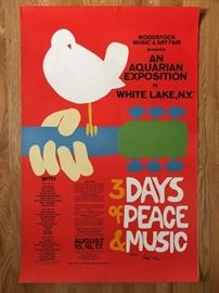 VINTAGE 1960's and 1970's POSTERS - MANY NEW - STILL SEALED !  WOODSTOCK ORIGINAL SIGNED BY ARTIST !  LAST ONE !