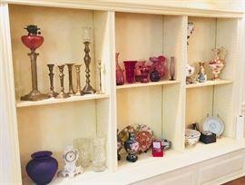 Some of the antique & vintage glassware, porcelain, cloisonné, etc.