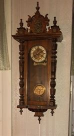 Antique clock - completely refurbished in 1990s.  Antique and Art Nouveau elements, key, etc.