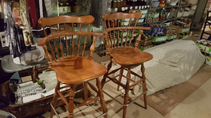 Ethan Allen oak bar stools